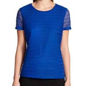 Calvin Klein Blue Blouse Regatta Textured Sheer